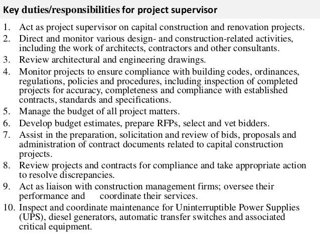Project Supervisor Job Description