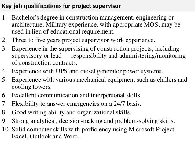 Project supervisor job description – Construction Management Job Description