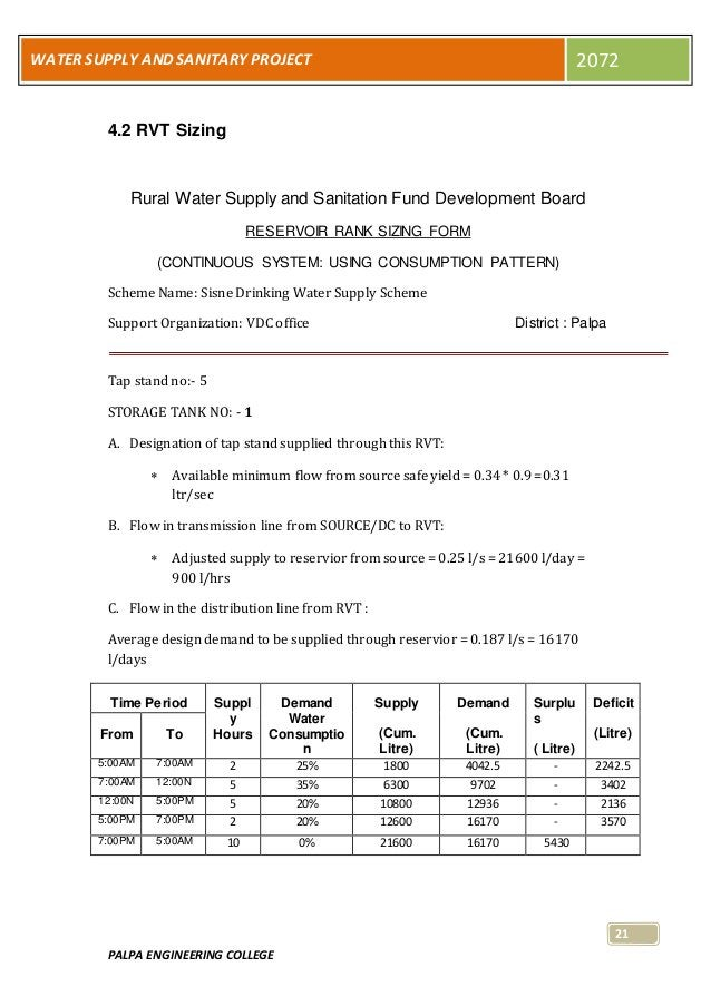 PALPA ENGINEERING COLLEGE 21 WATER SUPPLY AND SANITARY PROJECT 2072 4.2 RVT Sizing Rural Water Supply and Sanitation Fund ...
