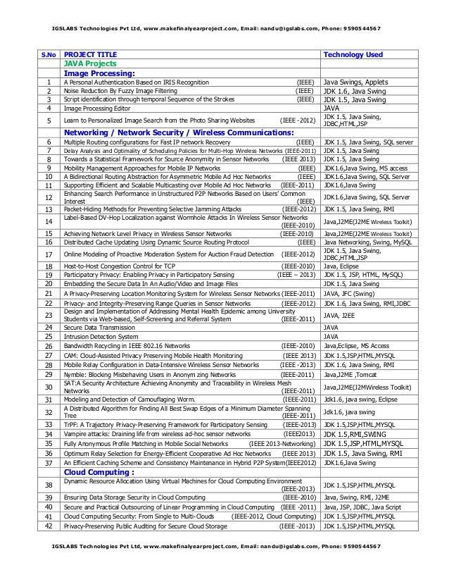 IGSLABS Technologies Pvt Ltd, www.makefinalyearproject.com, Email: nandu@igslabs.com, Phone: 9590544567  S.No  PROJECT TIT...