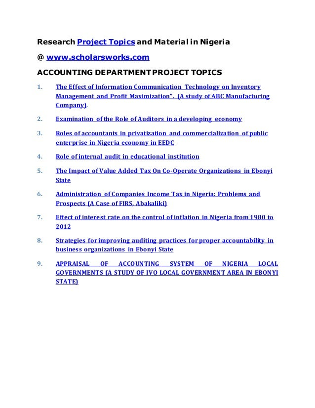 project topic on business education department