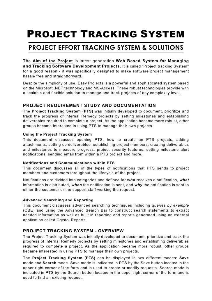 PROJECT TRACKING SYSTEM    PROJECT EFFORT TRACKING SYSTEM & SOLUTIONS The Aim of the Project is latest generation Web Base...