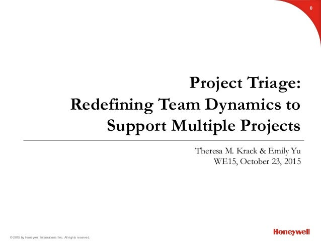 © 2015 by Honeywell International Inc. All rights reserved. Project Triage: Redefining Team Dynamics to Support Multiple P...