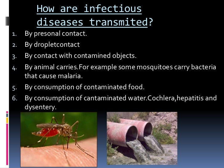 How are infectious        diseases transmited?1.   By presonal contact.2.   By dropletcontact3.   By contact with contamin...