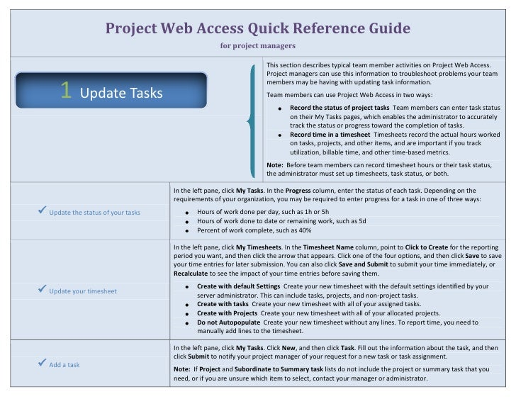 project web access quick reference guide for project managersthis section