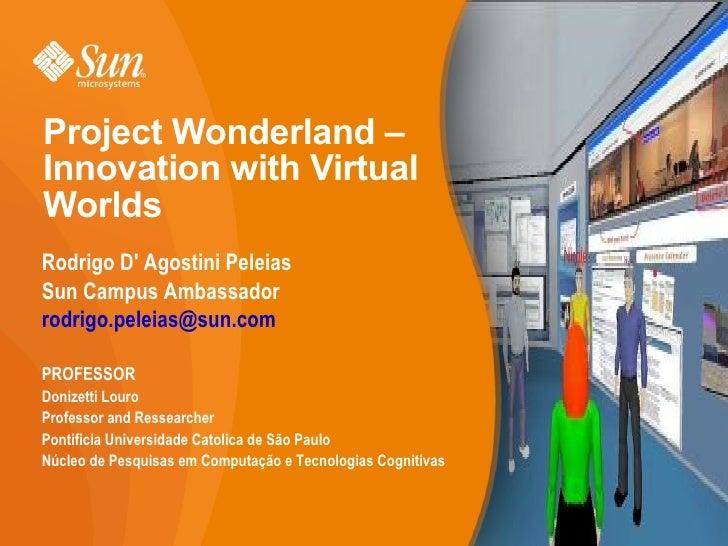 Project Wonderland – Innovation with Virtual Worlds <ul><li>Rodrigo D' Agostini Peleias