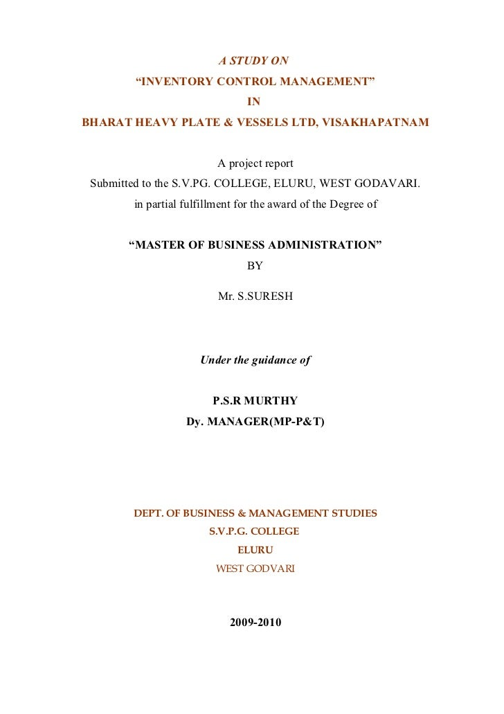 "A STUDY ON        ""INVENTORY CONTROL MANAGEMENT""                                INBHARAT HEAVY PLATE & VESSELS LTD, VISAKH..."