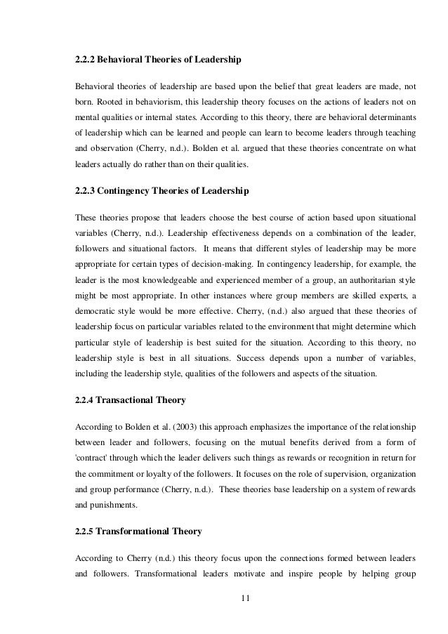 "leadership traits behaviors and styles essay Essay on leadership: meaning, nature and importance of leadership ""leadership is the quality of behavior of individuals whereby they guide people or their activities in organising efforts."