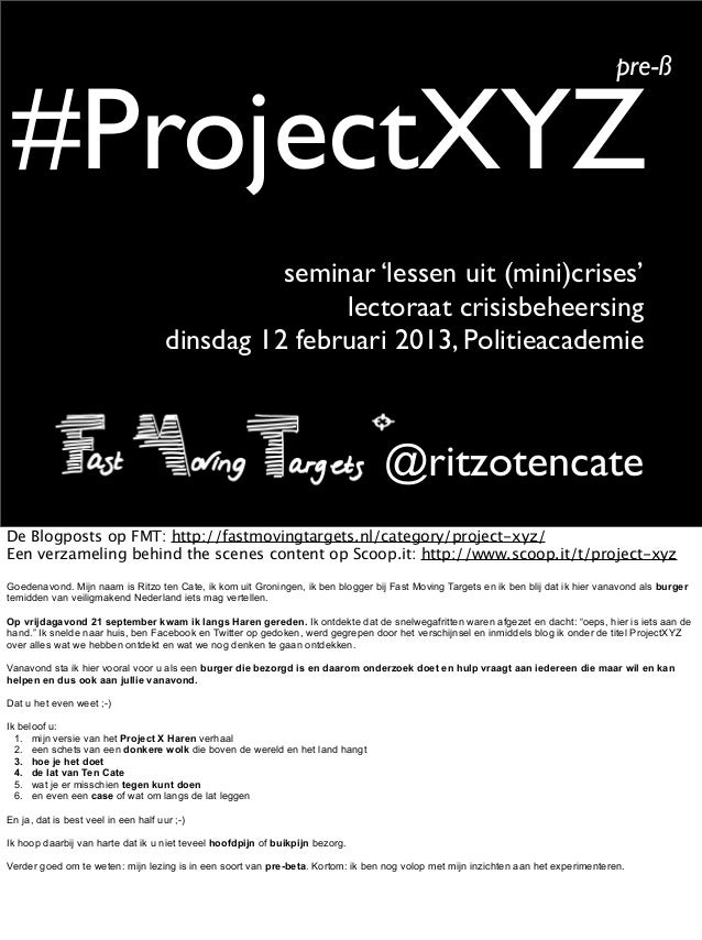 pre-ß #ProjectXYZ                                                seminar 'lessen uit (mini)crises'                        ...