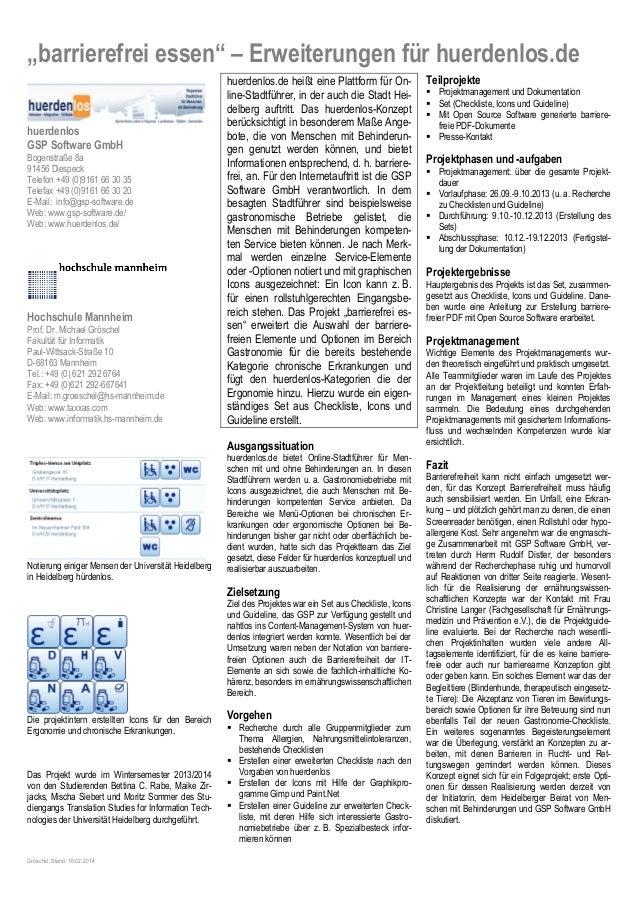 """""""barrierefrei essen"""" – Erweiterungen für huerdenlos.de huerdenlos GSP Software GmbH Bogenstraße 8a 91456 Diespeck Telefon ..."""