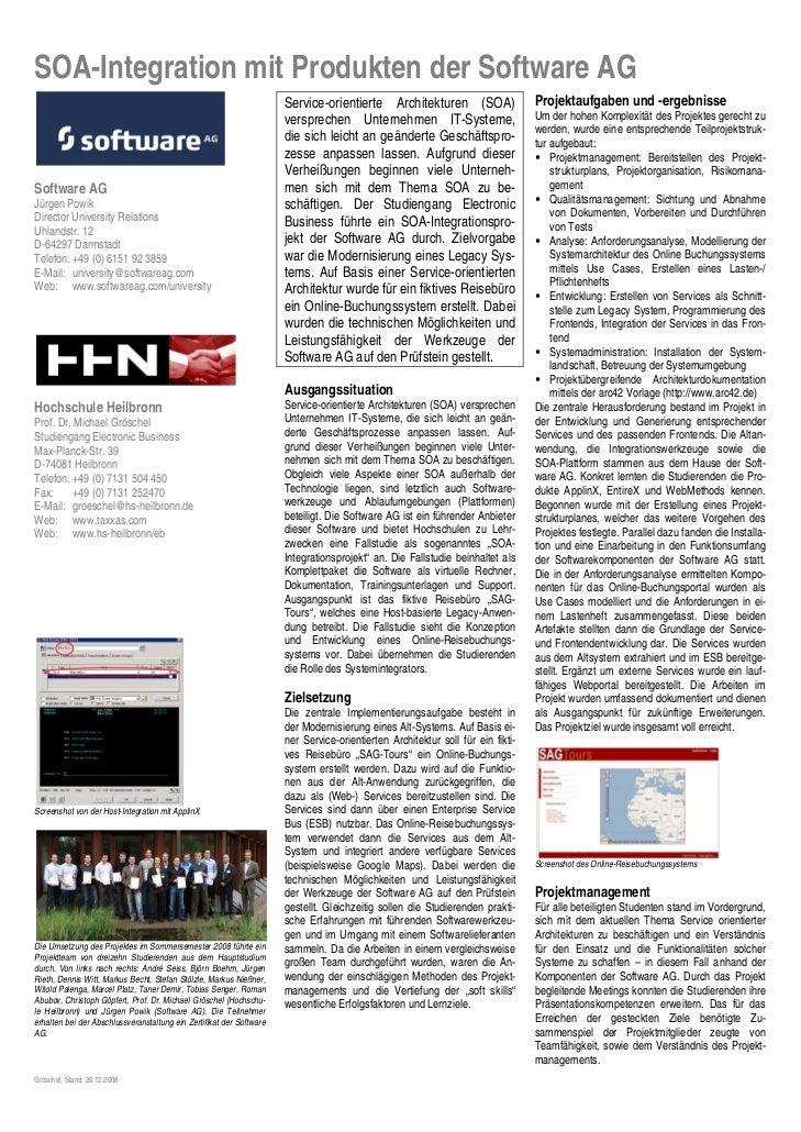 SOA-Integration mit Produkten der Software AG                                                                      Service...
