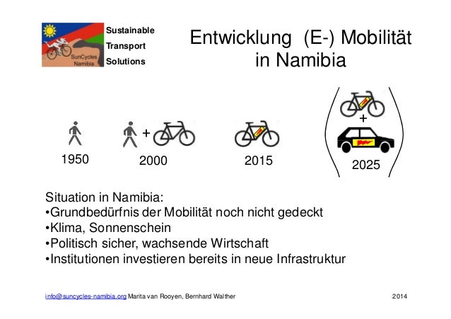 Sustainable  Transport  Solutions  Entwicklung (E-) Mobilität  +  +  in Namibia  1950 2000 2015 2025  Situation in Namibia...