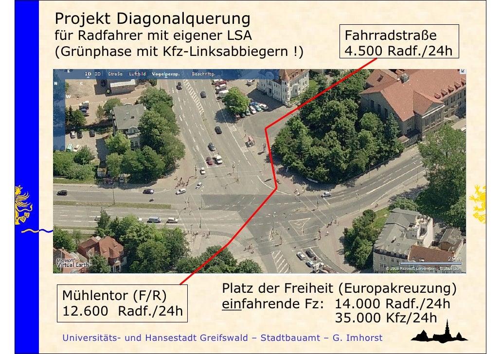 Projekt Diagonalquerungfür Radfahrer mit eigener LSA                              Fahrradstraße(Grünphase mit Kfz-Linksabb...