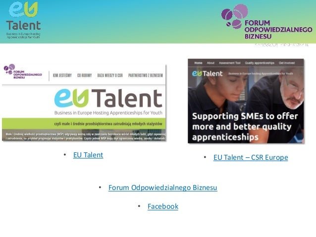 Text box - title SubheadingText box - title • Forum Odpowiedzialnego Biznesu • Facebook • EU Talent – CSR Europe• EU Talent