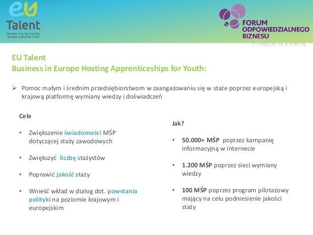 Text box - title EU Talent Business in Europe Hosting Apprenticeships for Youth:  Pomoc małym i średnim przedsiębiorstwom...