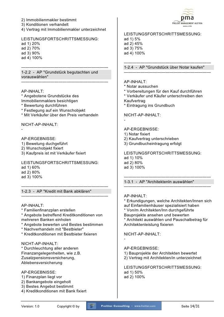 Muster Projekthandbuch Einfamilienhaus