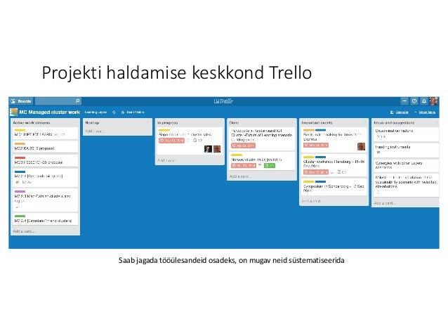 Projekti haldamise keskkond Trello Saabjagada tööülesandeid osadeks,onmugav neid süstematiseerida