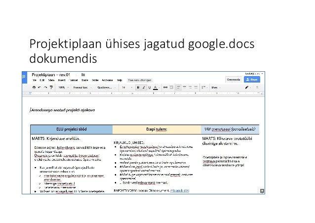 Projektiplaan ühises jagatud google.docs dokumendis