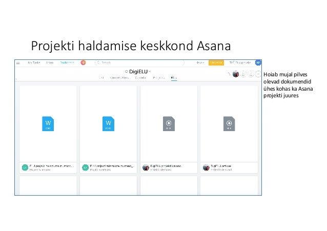 Projekti haldamise keskkond Asana Hoiab mujal pilves olevad dokumendid ühes kohas ka Asana projekti juures