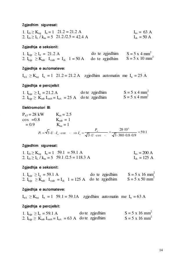 14 Zgjedhim siguresat: 1. Ish ≥ Kng In = 1 21.2 = 21.2 A Ins = 63 A 2. Ish ≥ IL / km = 5 21.2 /2.5 = 42.4 A Ish = 50 A Zgj...