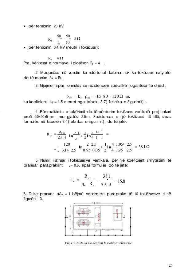 25  për tensionin 20 kV Rt   50 50 It 10 5   për tensionin 0.4 kV (neutri i tokëzuar): Rt 4  Pra, kërkesat e norma...