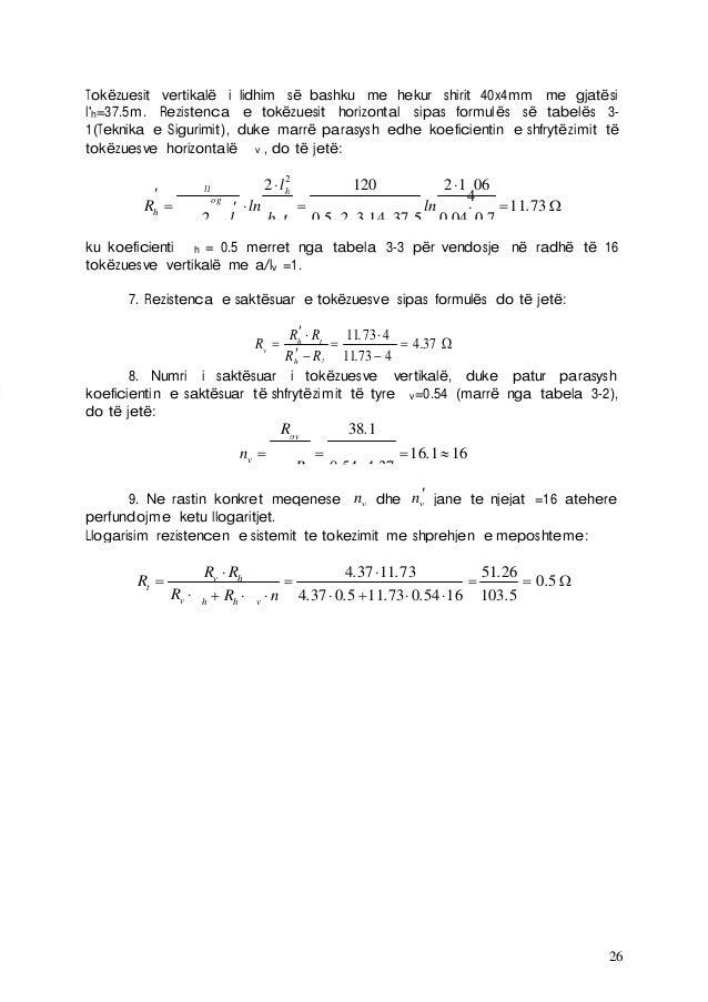26 Tokëzuesit vertikalë i lidhim së bashku me hekur shirit 40x4mm me gjatësi l'h=37.5m. Rezistenca e tokëzuesit horizontal...