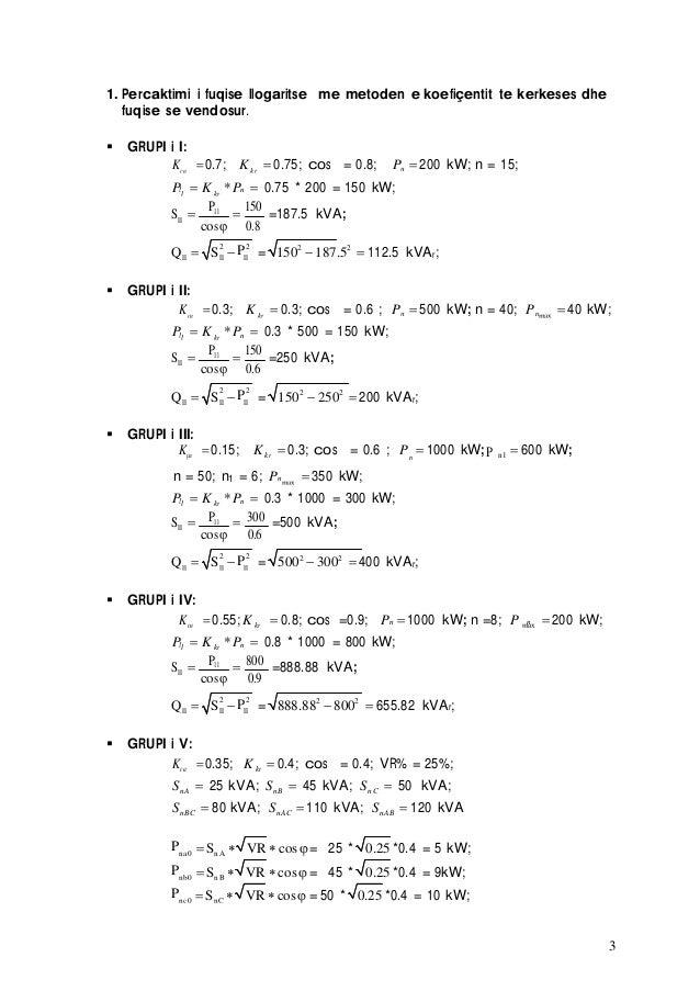 3 1. Percaktimi i fuqise llogaritse me metoden e koefiçentit te kerkeses dhe fuqise se vendosur. GRUPI i I: nKça 0.7; K...