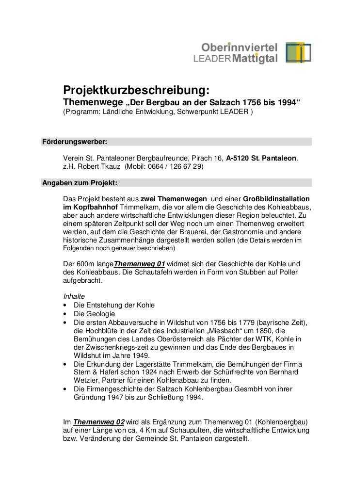 """Projektkurzbeschreibung:     Themenwege """"Der Bergbau an der Salzach 1756 bis 1994""""     (Programm: Ländliche Entwicklung, S..."""
