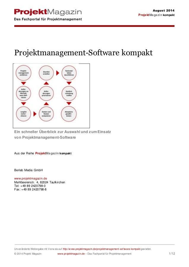August 2014  ProjektMagazin kompakt  Projektmanagement-Software kompakt  Ein schneller Überblick zur Auswahl und zum Einsa...