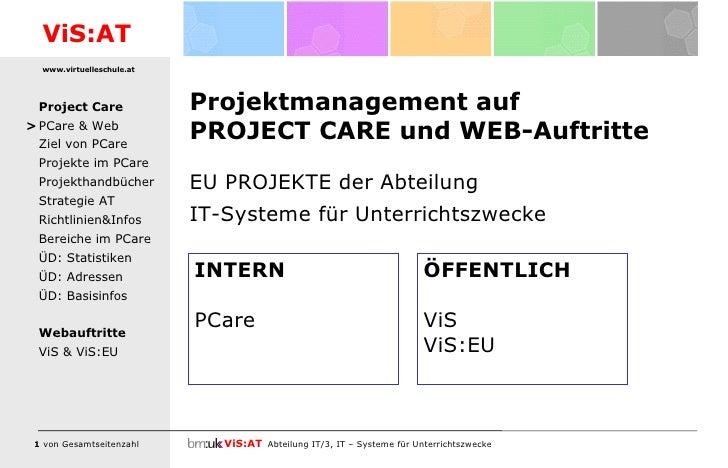 Projektmanagement auf PROJECT CARE und WEB-Auftritte <ul><li>EU PROJEKTE der Abteilung  </li></ul><ul><li>IT-Systeme für U...
