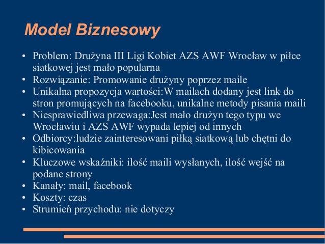 Model Biznesowy ● Problem: Drużyna III Ligi Kobiet AZS AWF Wrocław w piłce siatkowej jest mało popularna ● Rozwiązanie: Pr...