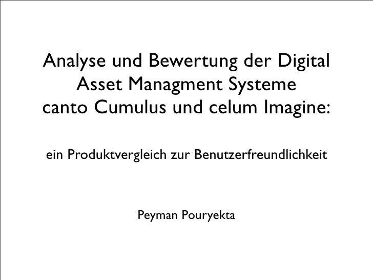 Analyse und Bewertung der Digital     Asset Managment Systeme canto Cumulus und celum Imagine:  ein Produktvergleich zur B...
