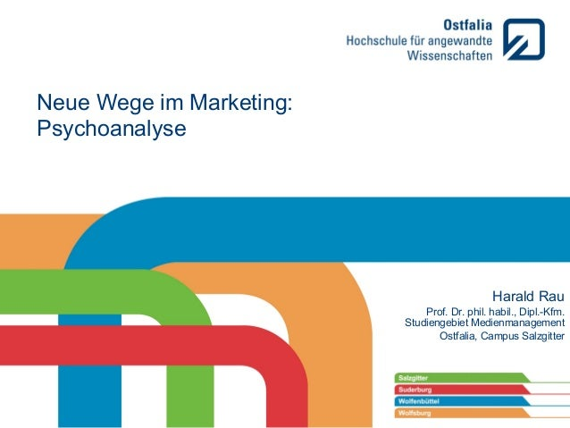 Neue Wege im Marketing: Psychoanalyse  Harald Rau Prof. Dr. phil. habil., Dipl.-Kfm. Studiengebiet Medienmanagement Ostfal...
