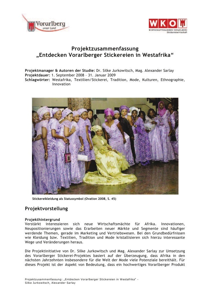 """Projektzusammenfassung        """"Entdecken Vorarlberger Stickereien in Westafrika""""  Projektmanager & Autoren der Studie: Dr...."""