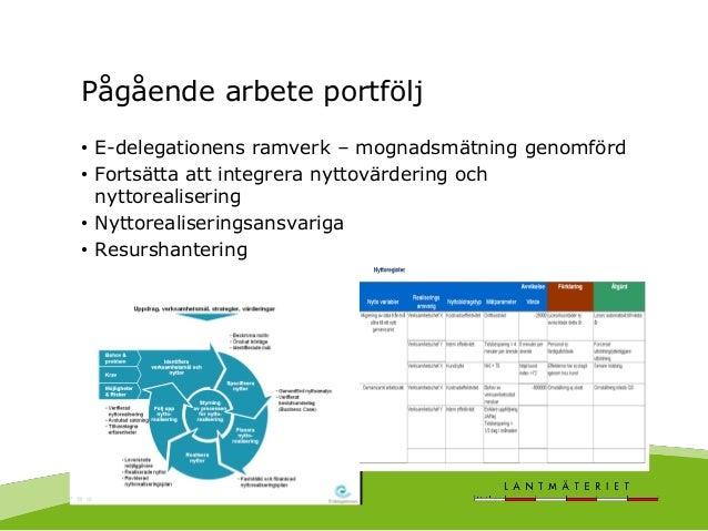 Pågående arbete portfölj • E-delegationens ramverk – mognadsmätning genomförd • Fortsätta att integrera nyttovärdering och...