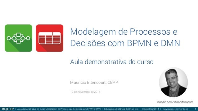 Modelagem de Processos e Decisões com BPMN e DMN Aula demonstrativa do curso Maurício Bitencourt, CBPP  12 de novembro de ...