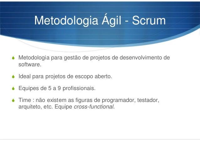 Metodologia Ágil - Scrum Metodologia para gestão de projetos de desenvolvimento de software. Ideal para projetos de escopo...