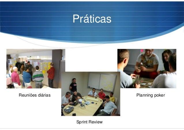 Práticas Reuniões diárias Planning poker Sprint Review