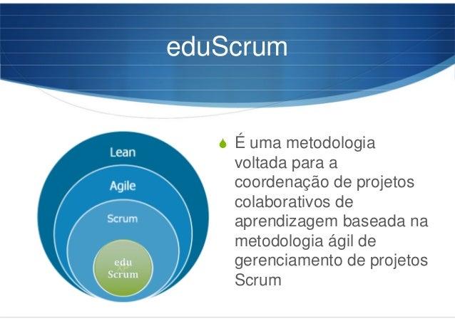 eduScrum É uma metodologia voltada para a coordenação de projetos colaborativos de aprendizagem baseada na metodologia ági...