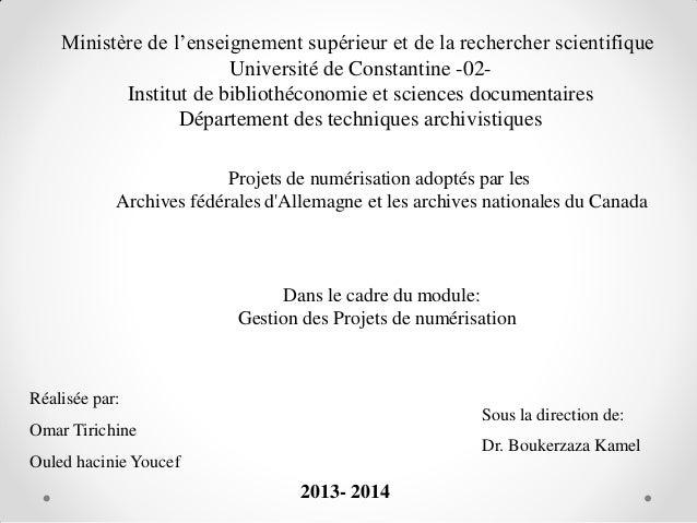 Ministère de l'enseignement supérieur et de la rechercher scientifique Université de Constantine -02Institut de bibliothéc...