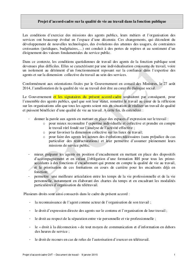Projet d'accord-cadre QVT – Document de travail - 9 janvier 2015 1 Projet d'accord-cadre sur la qualité de vie au travail ...