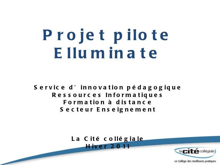 Projet pilote Elluminate Service d'innovation pédagogique Ressources Informatiques Formation à distance Secteur Enseigneme...