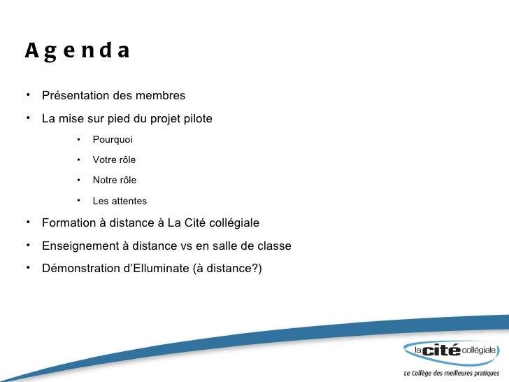 Agenda <ul><li>Présentation des membres  </li></ul><ul><li>La mise sur pied du projet pilote </li></ul><ul><ul><ul><li>Pou...