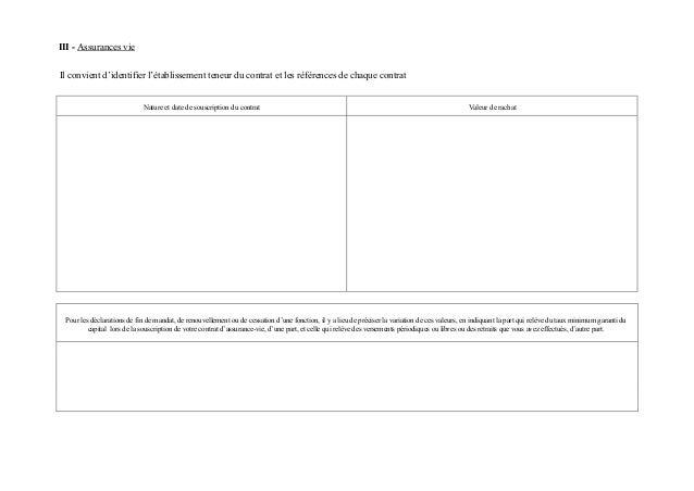 III - Assurances vieIl convient d'identifier l'établissement teneur du contrat et les références de chaque contrat        ...
