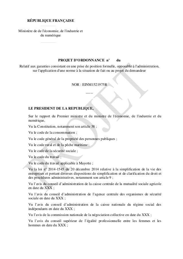 RÉPUBLIQUE FRANÇAISE Ministère de de l'économie, de l'industrie et du numérique PROJET D'ORDONNANCE n° du Relatif aux gara...