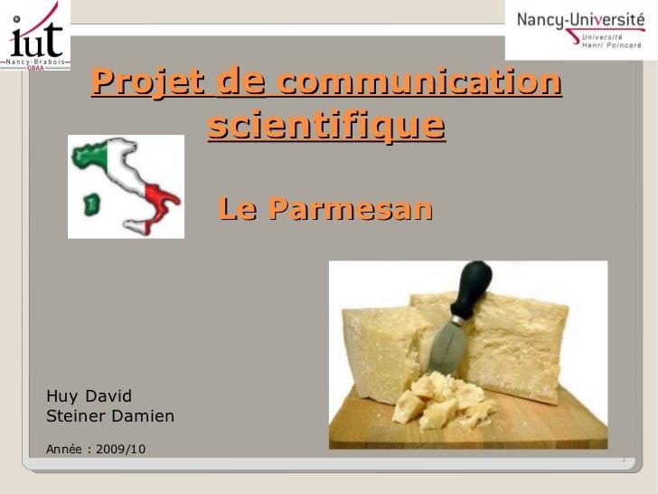 Projet  de  communication  scientifique Le Parmesan Huy David Steiner Damien Année : 2009/10