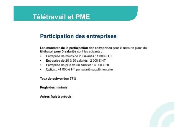 Télétravail et PME  Participation des entreprises  Les montants de la participation des entreprises pour la mise en place ...