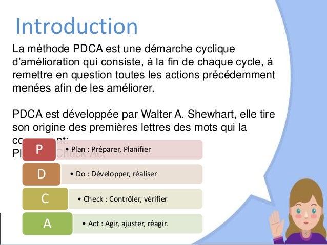 La méthode PDCA est une démarche cyclique d'amélioration qui consiste, à la fin de chaque cycle, à remettre en question to...