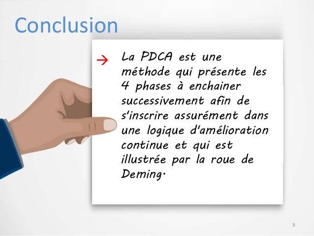 Conclusion La PDCA est une méthode qui présente les 4 phases à enchainer successivement afin de s'inscrire assurément dans...