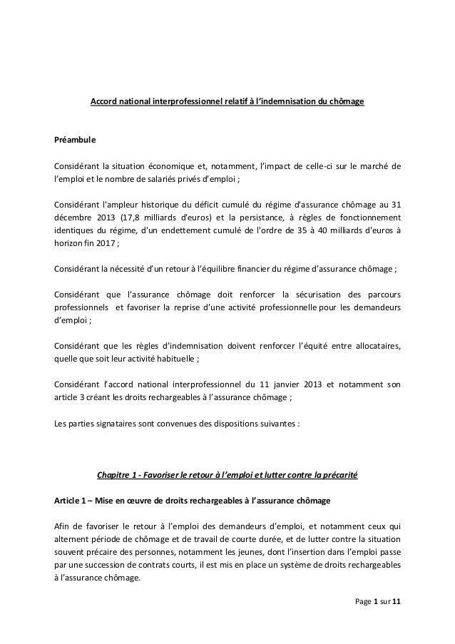 Page 1 sur 11 Accord national interprofessionnel relatif à l'indemnisation du chômage Préambule Considérant la situation é...